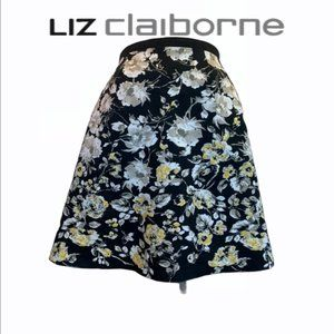 Liz Claiborne Floral Black and yellow Skirt Size 6